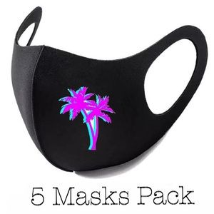 Reusable Fashion Face 5- Masks Pack Palm Black